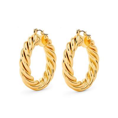 Gold Plated Twist Hoop Earrings