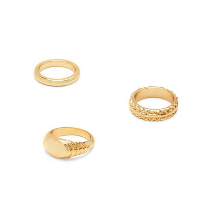 Gold Plated Chunky Rings 3 Pack