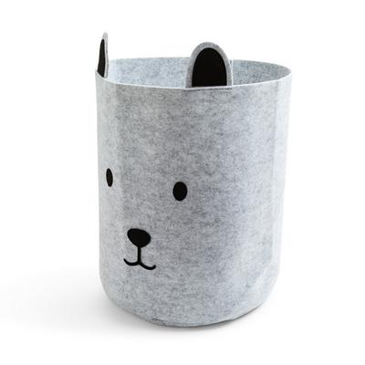 Large Gray Felt Bear Basket