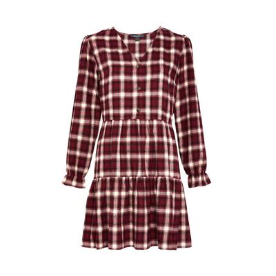 Red Check Tiered Mini Dress
