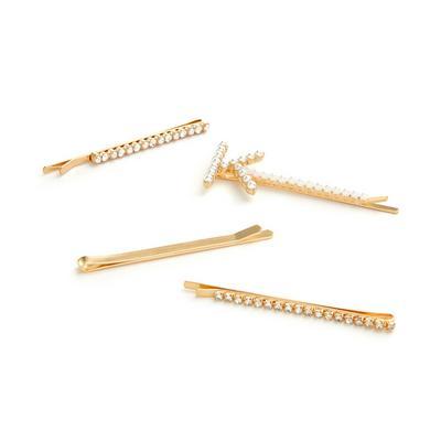 Pack 4 ganchos cabelo c/ pérolas e iniciais dourado