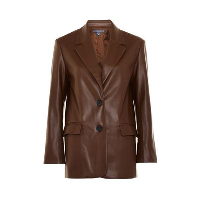 Brown Faux PU Leather Double Breasted Blazer