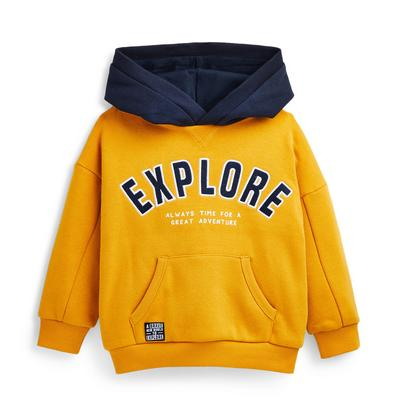 Younger Boy Yellow Explore Contrast Hoodie