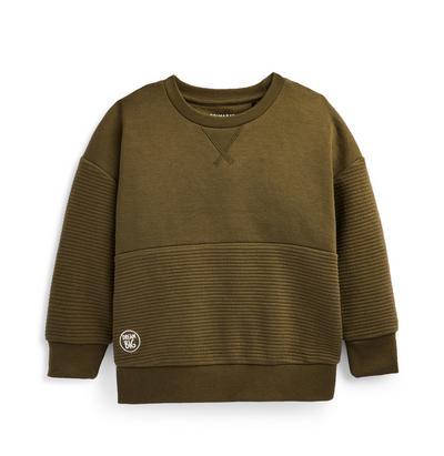 Younger Boy Olive Ottoman Panel Crew Neck Sweatshirt