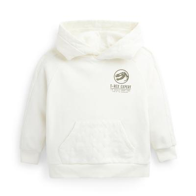 Younger Boy Ivory Quilted Dinosaur Hoodie