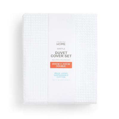 Bel komplet prevlek z vafljasto teksturo za prešito odejo za zakonsko posteljo Primark Cares