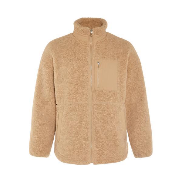 Great Outdoors Camel Pocket Detail Zip Up Fleece Jacket
