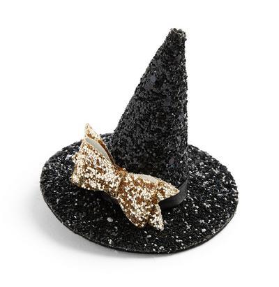 Gancho cabelo chapéu bruxas brilhantes Halloween preto