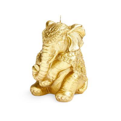 "Goldfarbene Kerze ""sitzender Elefant"""