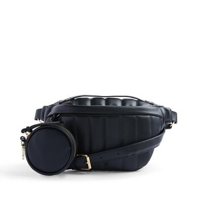 Black Faux PU Leather Linear Quilted Bumbag