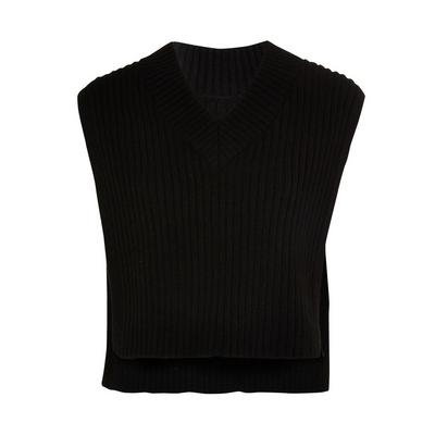 Black Knitted V-Neck Bib Vest