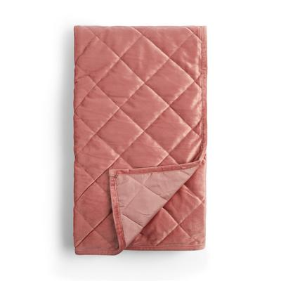Rosafarbener Bettüberwurf aus Samt