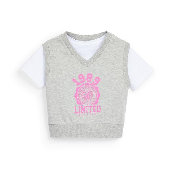 Grijze 2-in-1 sweater voor meisjes