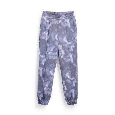 Blauwe joggingbroek met tie-dye print voor meisjes