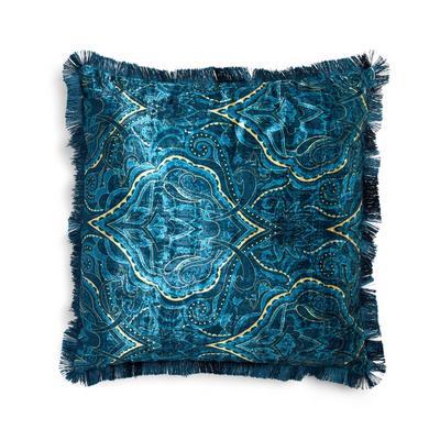 Blaues Jacquard-Kissen mit Paisleymuster und Besatz