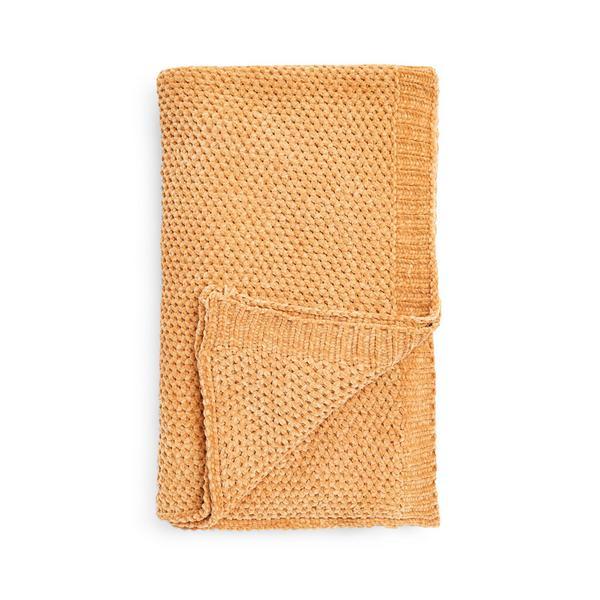 Mustard Chunky Knit Chenille Throw