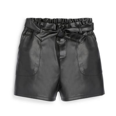 Older Girl Black Faux PU Leather Shorts