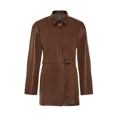 Brown Faux Leather Belted Shacket