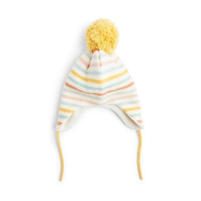 Pastelkleurige gestreepte muts met oorflappen voor baby's