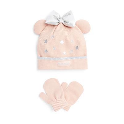 Conjunto gorro e luvas Disney Minnie Mouse menina bebé cor-de-rosa