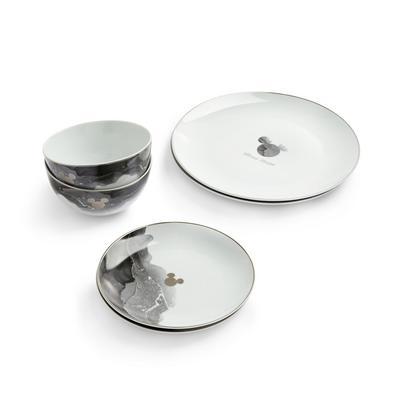 Monochrome Disney Mickey Mouse Ceramic Dining Set