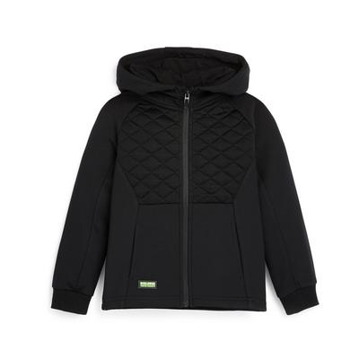 Younger Boy Black Quilted Zip Up Track Hoodie