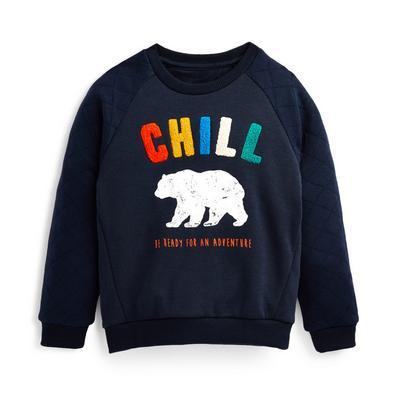 Felpa girocollo blu navy trapuntata con stampa orso bouclé da bambino