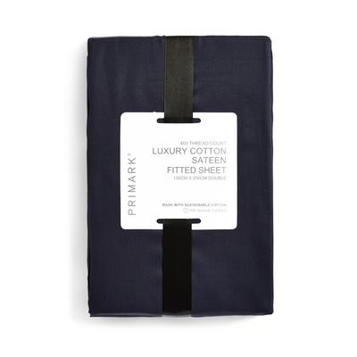 Navy Luxury Cotton Sateen 400 Thread Count Double Fitted Sheet