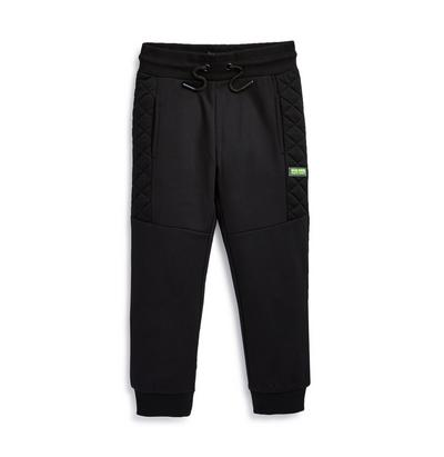 Younger Boy Black Quilted Joggers
