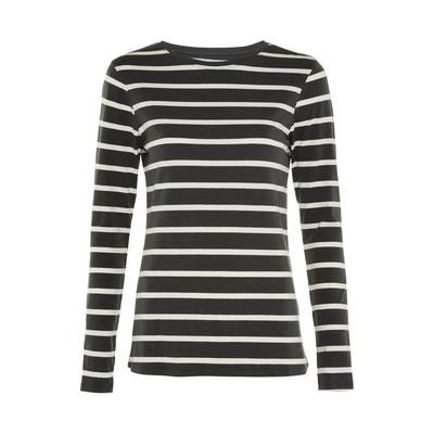 Charcoal Striped Stretch Long Sleeve Top