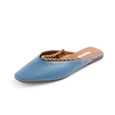 Blue Twist Chain Pointed Toe Flat Mules