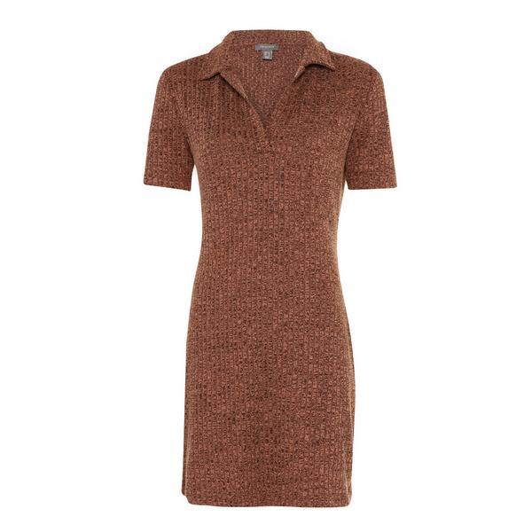 Brown Space Dye Open Polo Neck Mini Dress