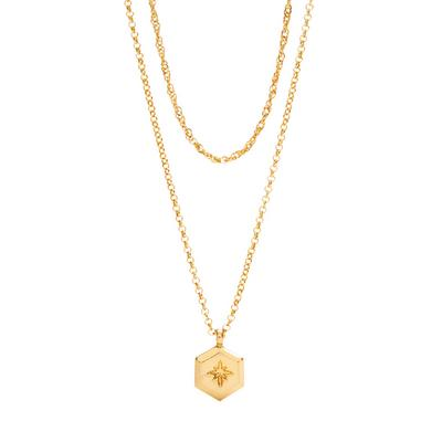 Gold Plated Two Row Pendant Necklace