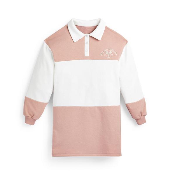 Vestido Varsity rapariga cor-de-rosa