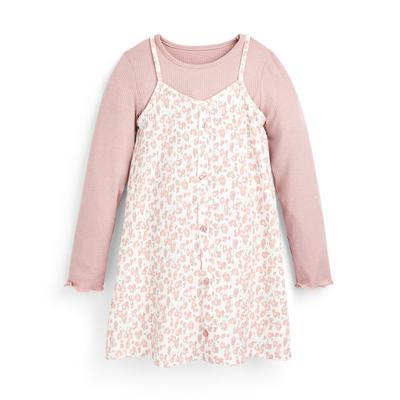 Roze 2-in-1 jurk met bloemenprint voor meisjes