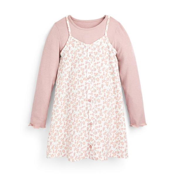 Younger Girl Pink Floral Print 2-In-1 Dress