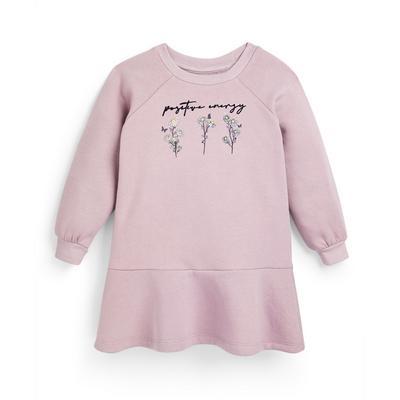 Roze gebloemde sweaterjurk voor meisjes