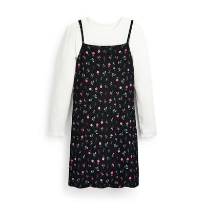 Zwarte 2-in-1 jurk met bloemenprint voor meisjes