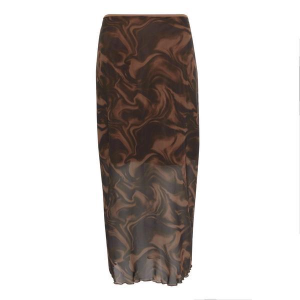 Coffee Wave Mesh Midi Skirt