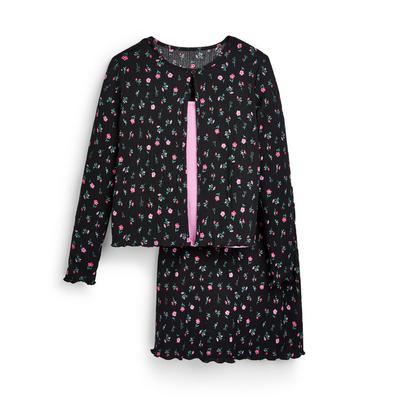 Driedelige set met zwart rokje met bloemenprint voor meisjes