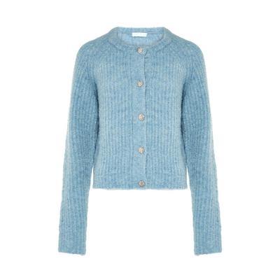 Blue Bouclé Jewel Button Cardigan
