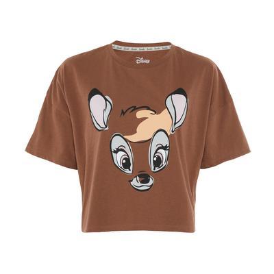 Camiseta de corte cuadrado marrón con estampado de Bambi