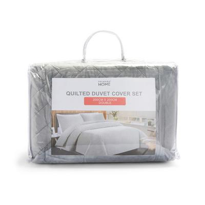 Funda para edredón plateada acolchada de felpa sintética para cama de matrimonio