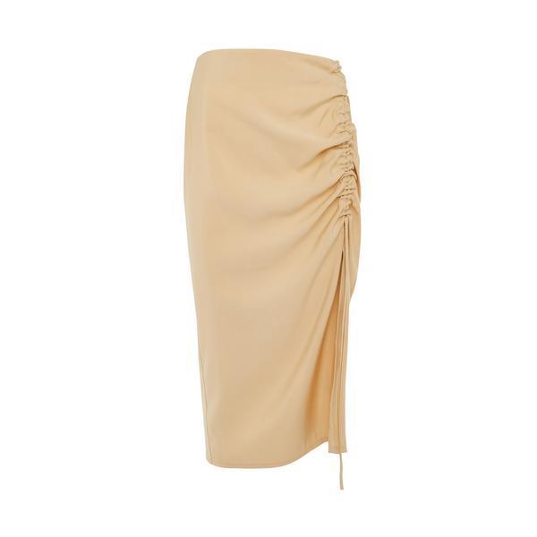 Jupe mi-longue jaune aspect lin froncée sur le côté