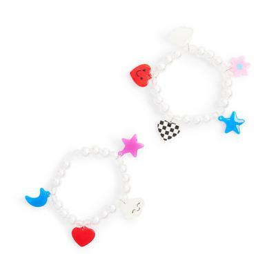 2-Pack Disney White Charm Bracelets