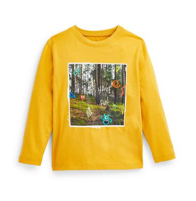 Younger Boy Yellow Forest Print Long Sleeve T-Shirt