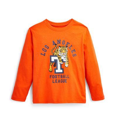 Younger Boy Orange LA Print Long Sleeve T-Shirt