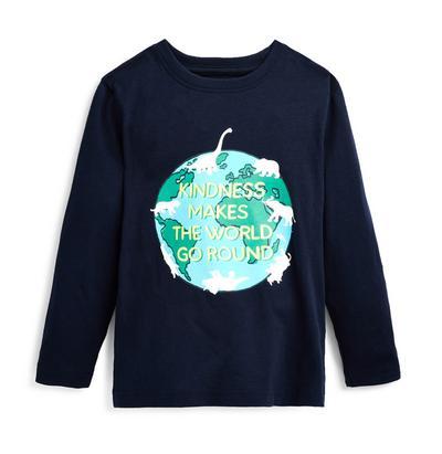 Younger Boy Navy World Print Long Sleeve T-Shirt