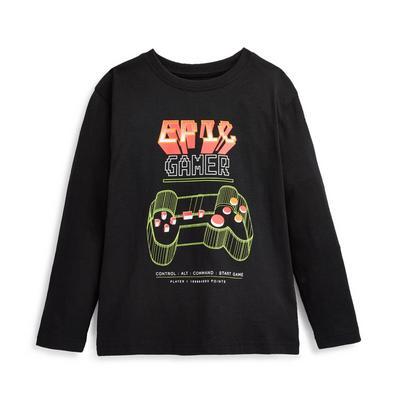 Younger Boy Black Gamer Print Long Sleeve T-Shirt