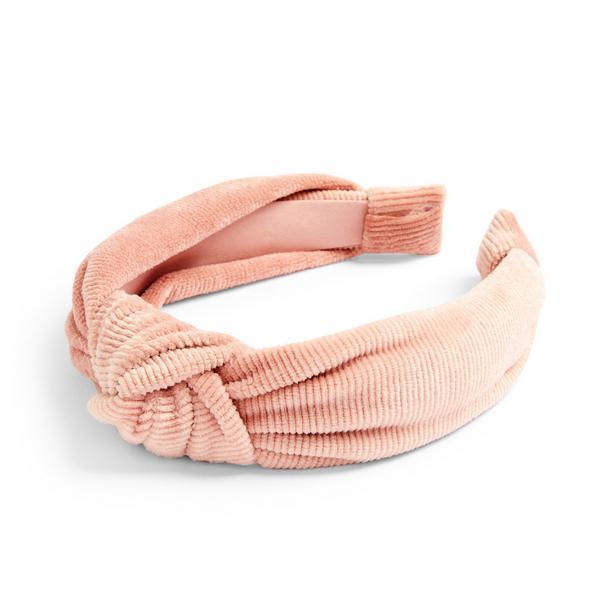 Serre-tête rose poudré en velours côtelé doux à nœud